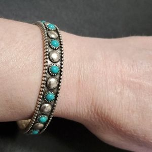 Silver tone and blue bracelet